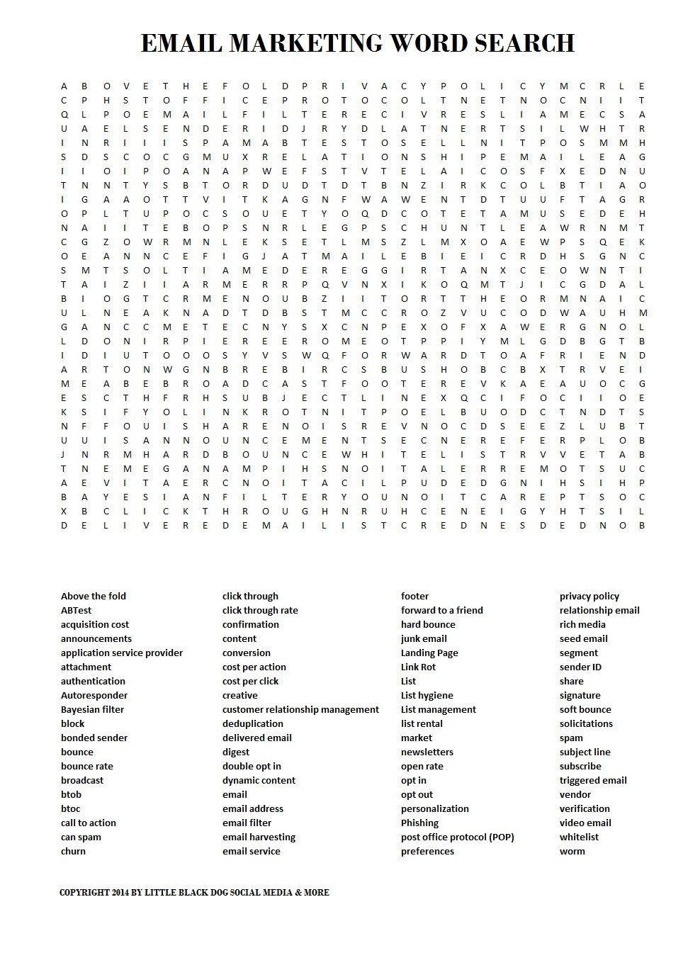 Email Marketing Word Search Little Black Dog Marketing