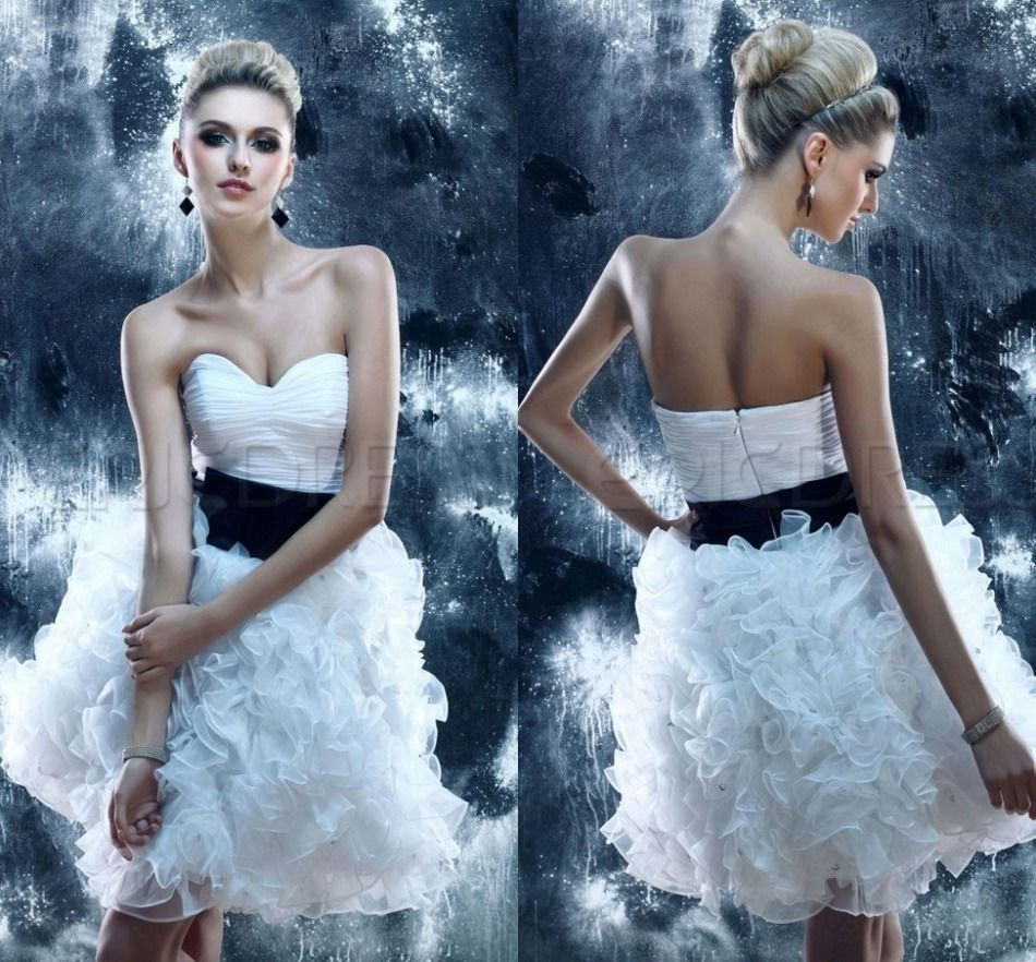 White sexy short backless sweetheart ball gown th grade modest
