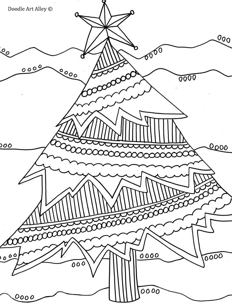 christmas doodle coloring pages for adults | Pin by Kelly Hightree on Color me please! | Christmas tree ...