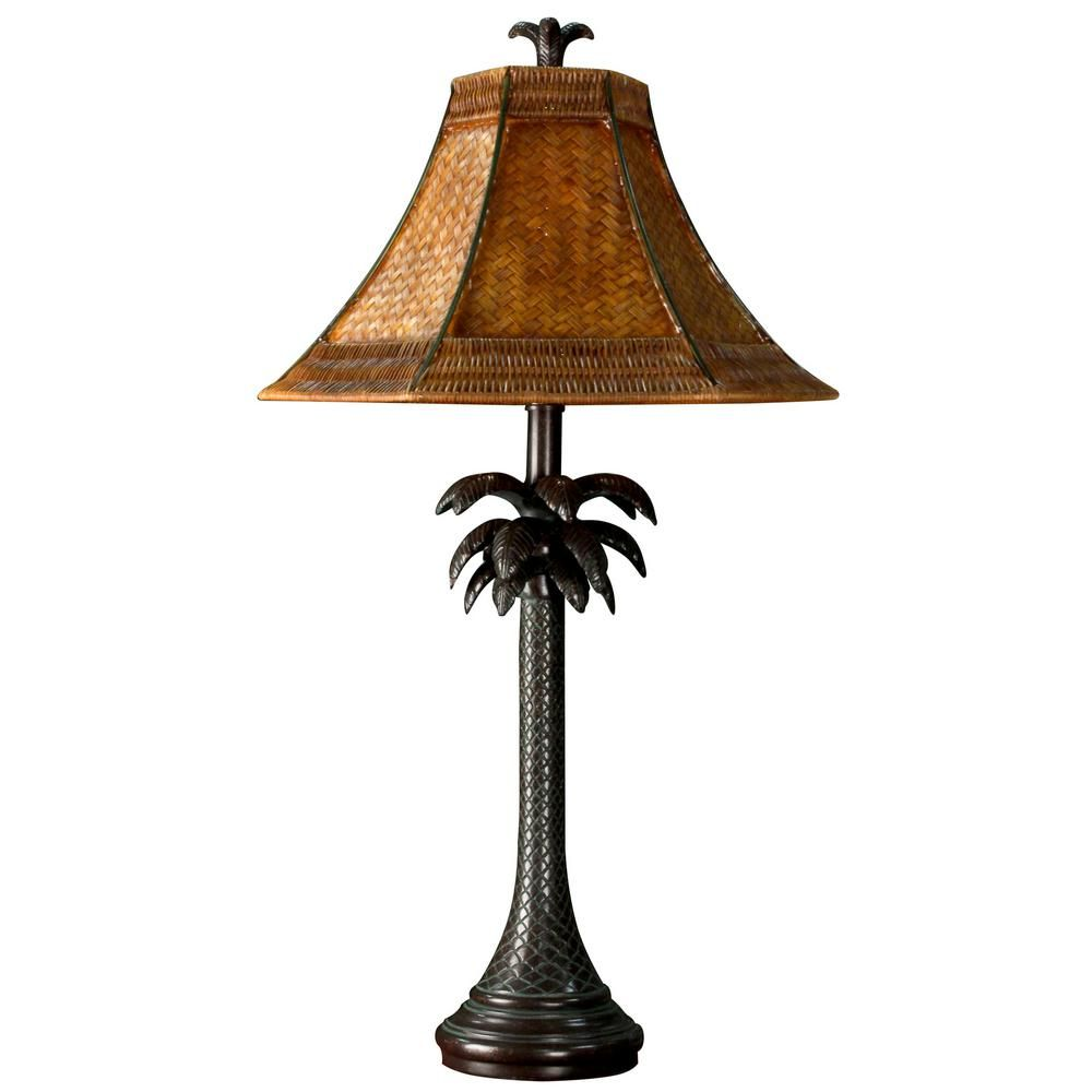 Stylecraft 26 In Dark Brown Table Lamp With Brown Woven Rattan Shade Pt2957ds Tropical Table Lamps Brown Table Lamps Table Lamp