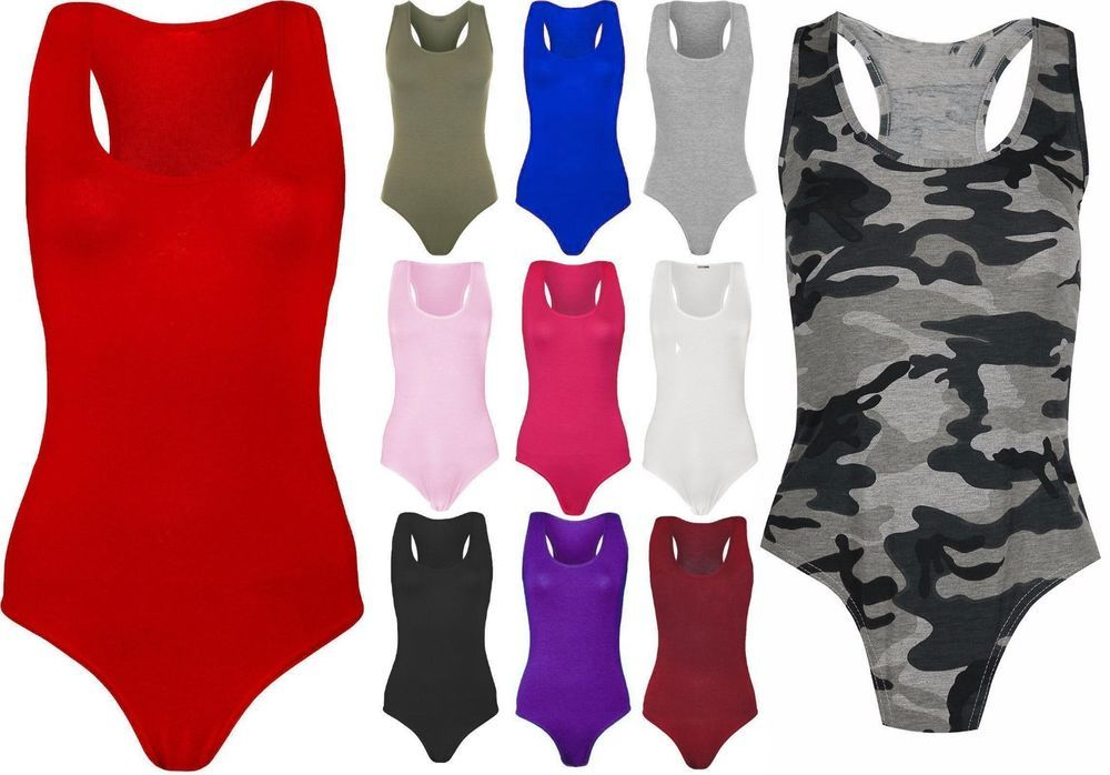 Ladies Womens Muscle Racer Back Sleeveless Bodysuit Stretch Leotard Vest Top