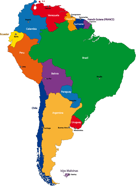 Mapa político de sudamérica - Vector in 2019 | Art | South america ...