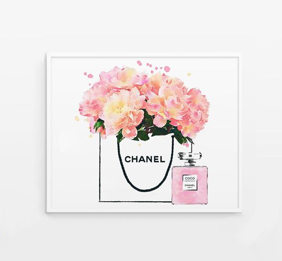 Shopping Bag Poster Peonies In A Shop Bag Coco Perfume Bottle