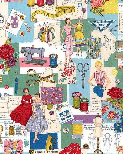 Sewing Notions Fabric : sewing, notions, fabric, EQuilter, Makower, Retro, Sewer's, Dream, Patina, Green, Sewing, Crafts,, Items