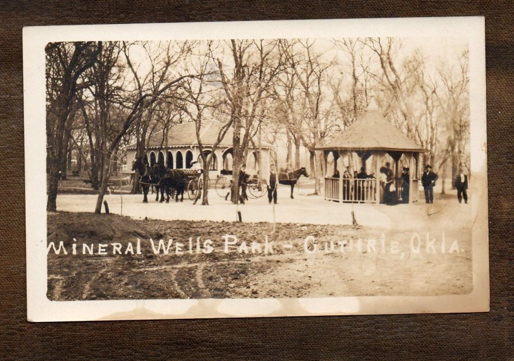 Mineral Wells Park  Guthrie Oklahoma  Real Photo Postcard