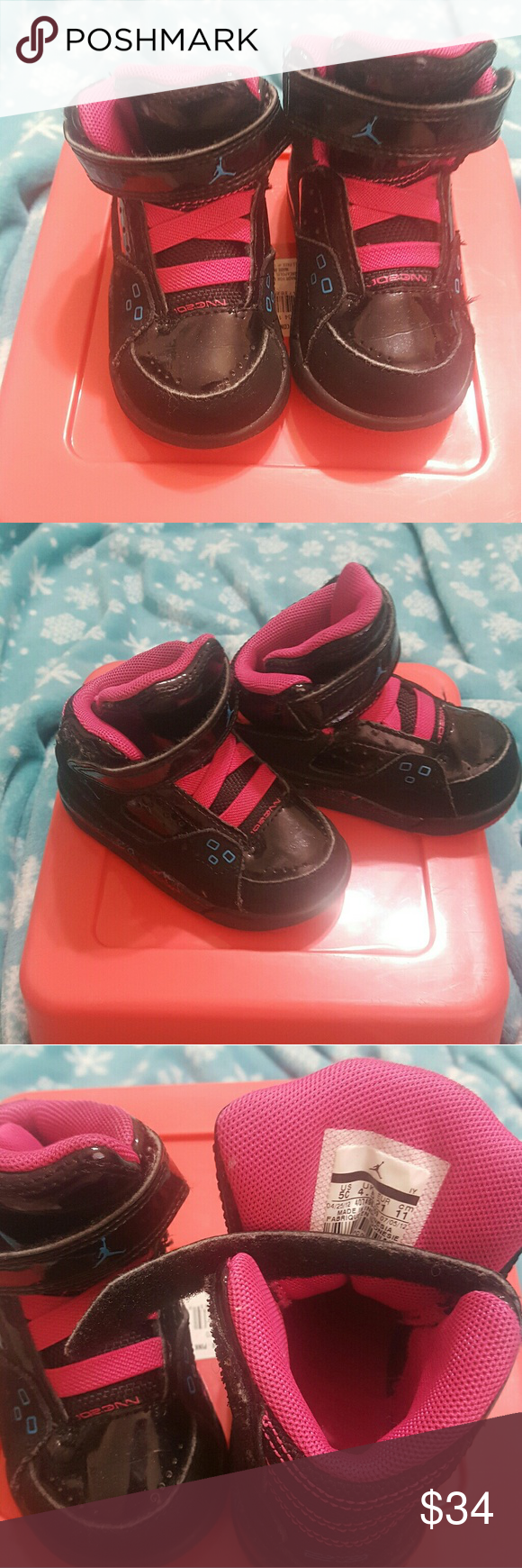 brand new c67bf ee7be Super cute pink and black Jordans!! Adorable toddler girl ...