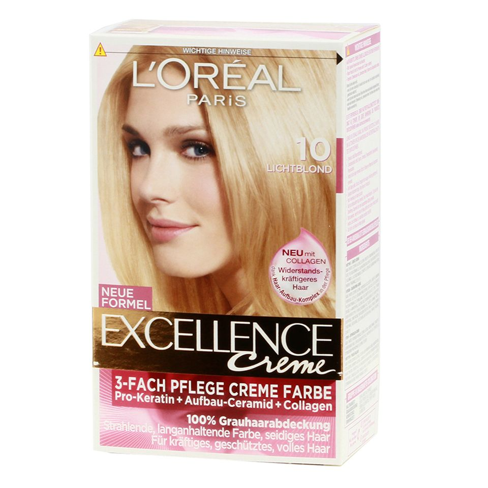 Loreal Paris Excellence 10 Light Blonde - http://www.transfashions.com/en/beauty-health/hair-care/hair-colors/loreal-hair-colors/loreal-paris-excellence-10-light-blonde.html Nourishing cream color with 100% gray coverage A lasting color that simultaneously protects the #hair! Excellence Crème is the best treatment for hair from the ...