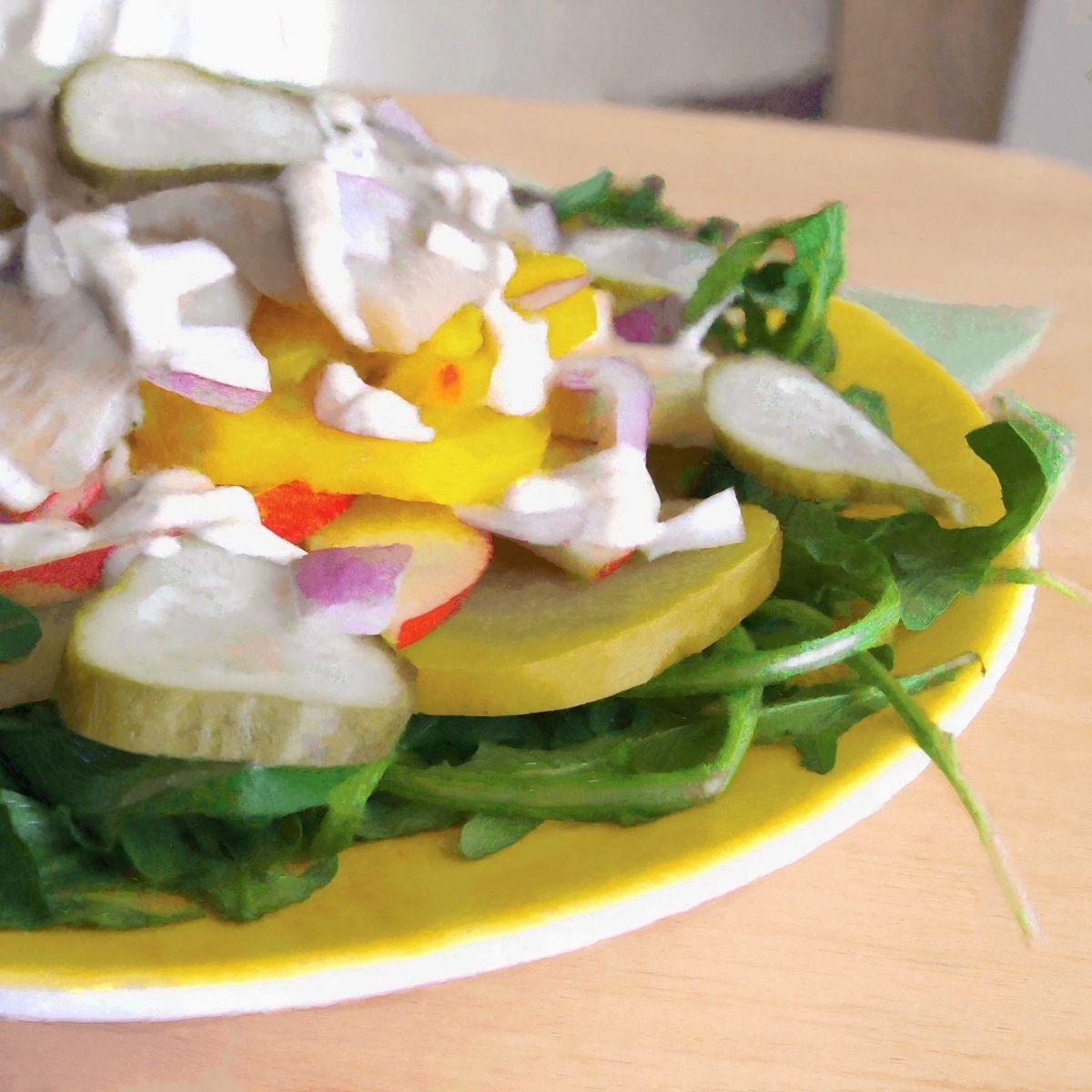 Herring, Apple, And Beet Salad With Horseradish-Sour Cream