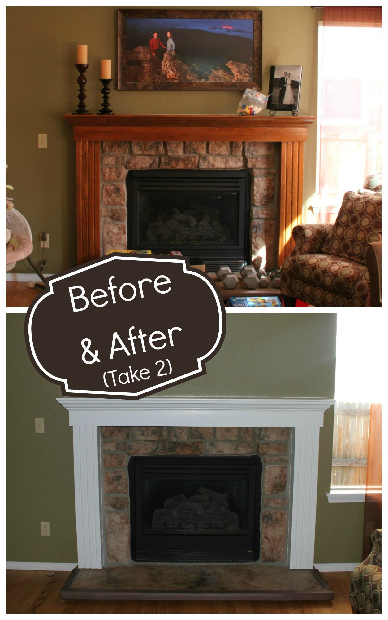Fireplace Makeover – Part 2. Painting Oak. Builder Grade Fireplace ...