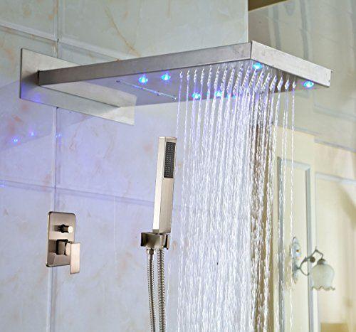 Rozin Led Light Rain Waterfall Bathroom Shower Faucet With