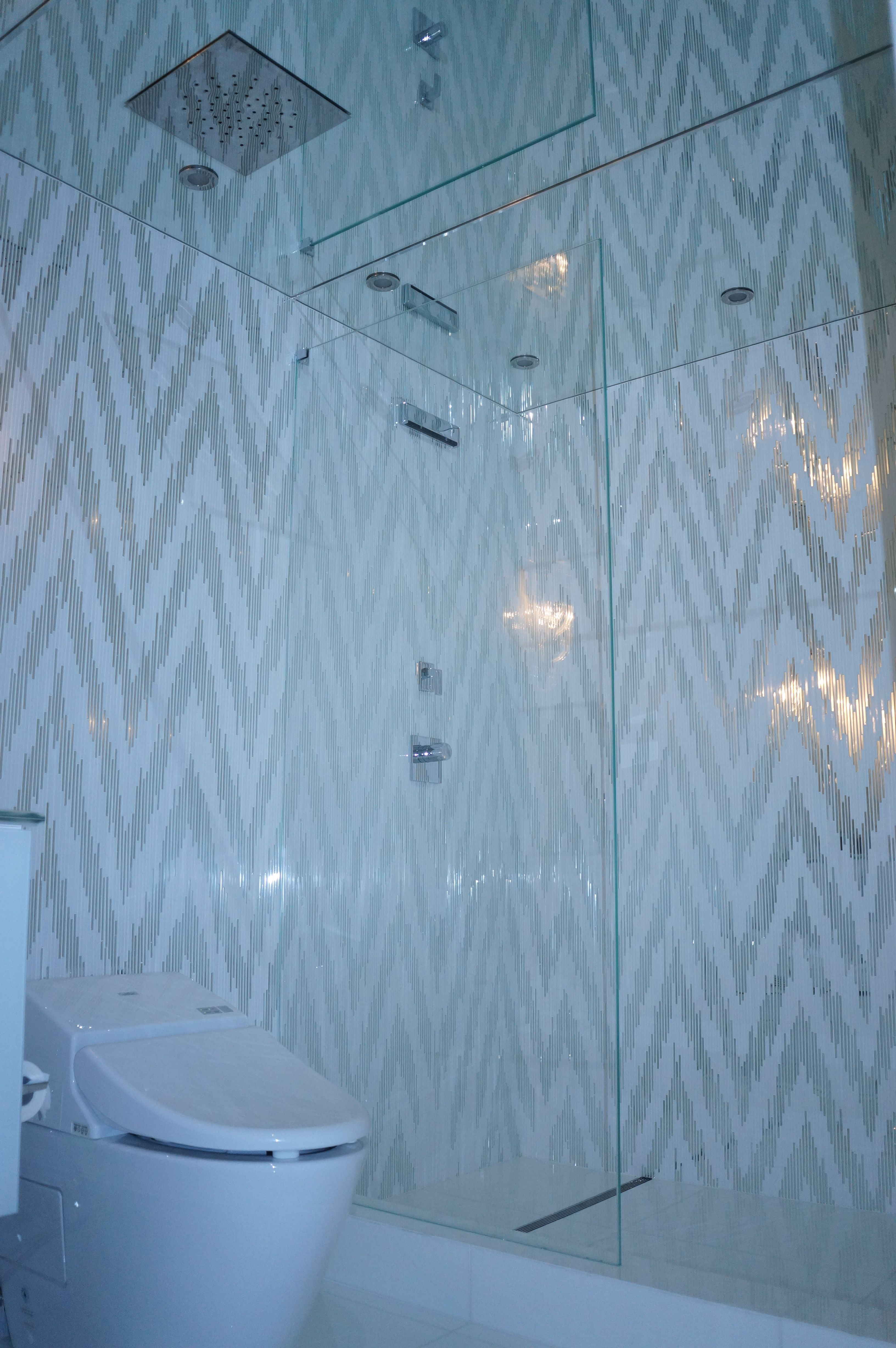Guest bath in Ft. Lauderdale continued. Saphire glass shower divide ...