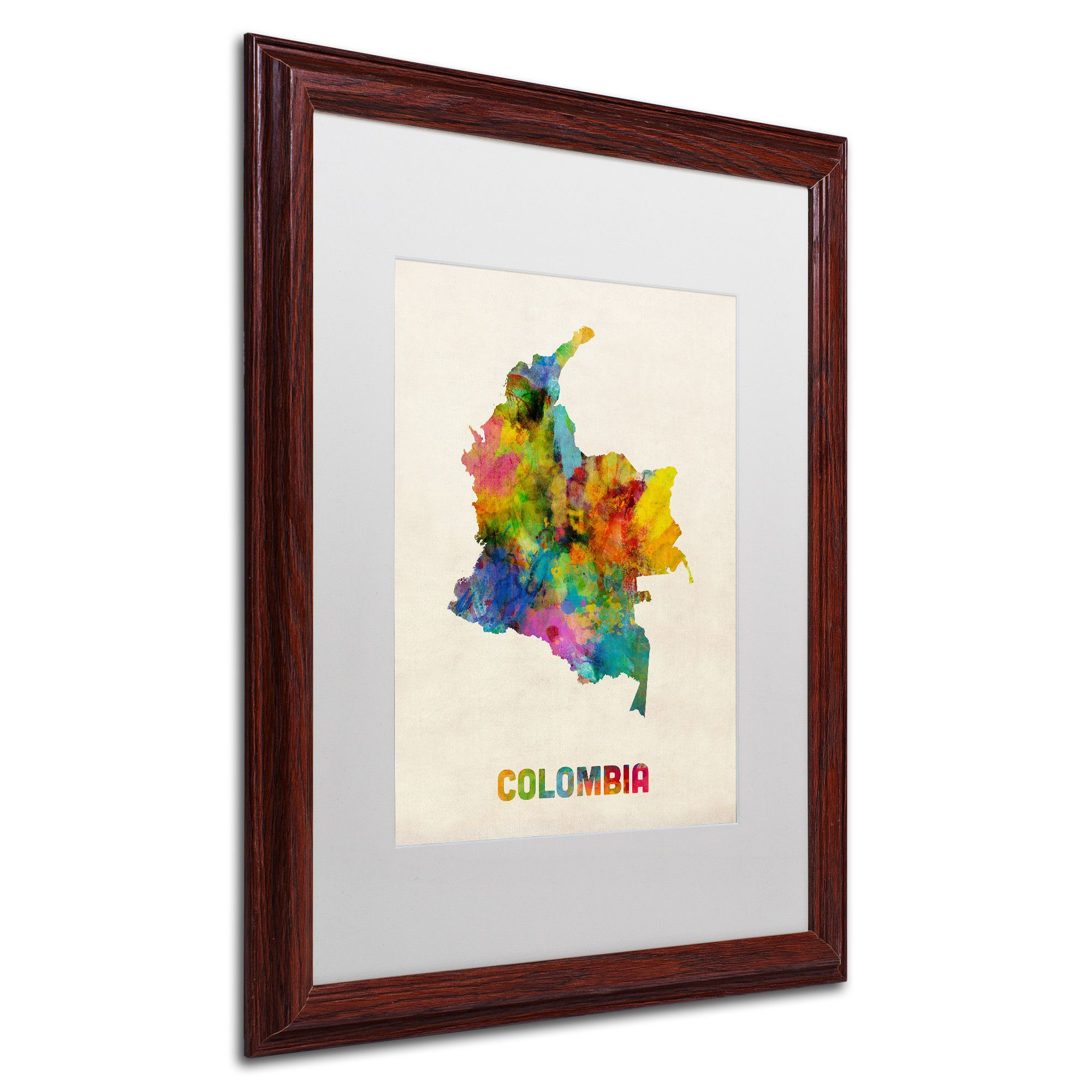 Colombia Watercolor Map by Michael Tompsett Framed