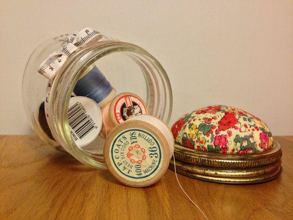 Pincushion jar by Hertsdale on Etsy