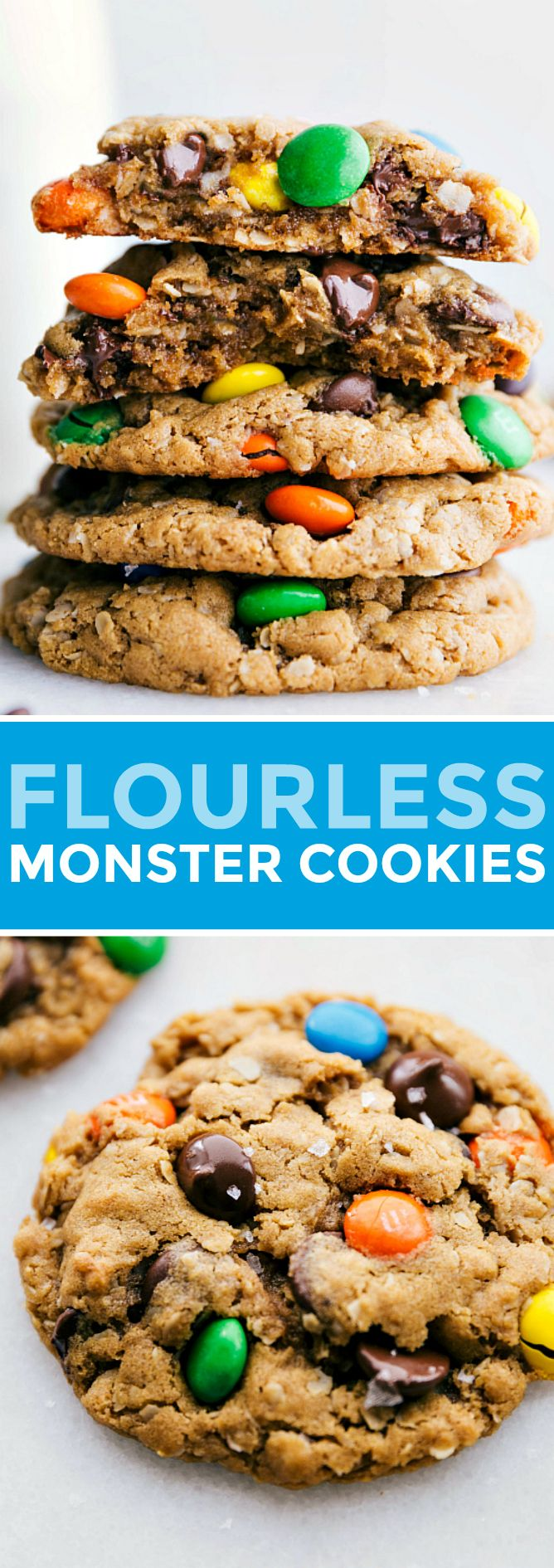 Flourless Monster Cookies #quickcookierecipes