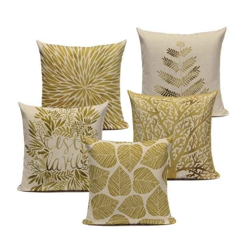 Golden Leaves Pillow Covers Throw Pillows Gold Throw Pillows Cushions On Sofa