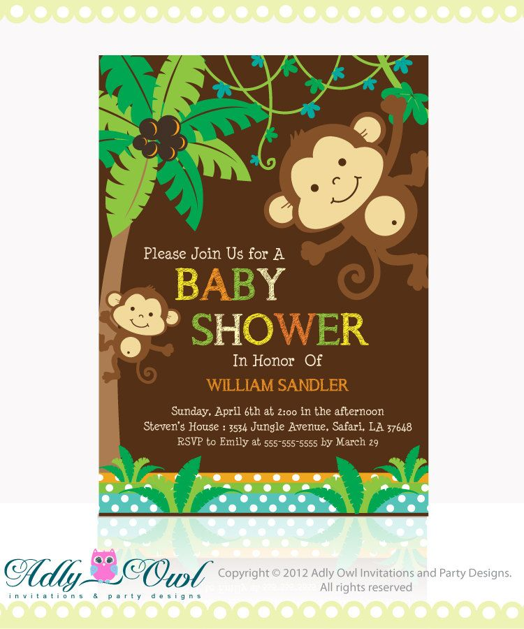 spring sale personalized brown jungle monkeys baby shower, Baby shower invitations