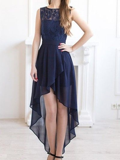 Long prom dress,high low prom dresses, navy
