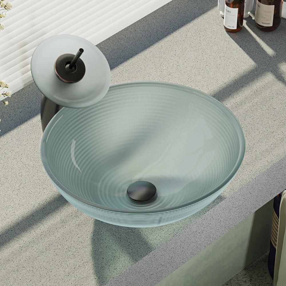 Rene Glass Vessel Sink In Sparkling Silver With Waterfall Faucet