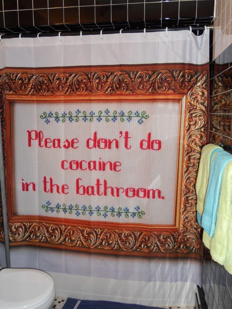 Original Please Dont Do Coke In The Bathroom Needlepoint Shower