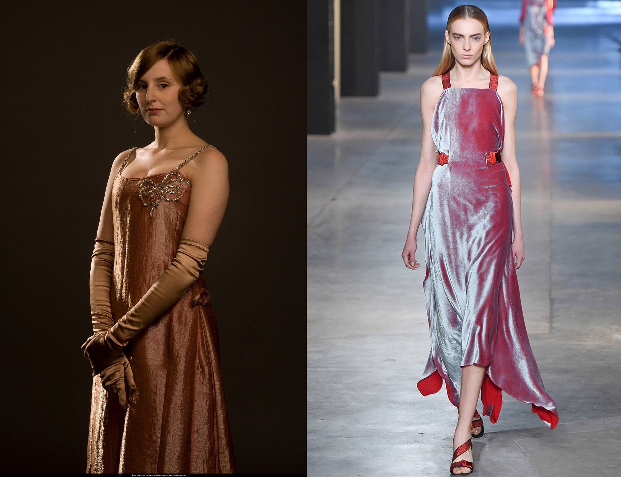 Lady Edith Crawley in Christopher Kane - Poor Edith. Unlucky in love and life, but somehow she pulls things together. In later seasons we've seen Edith evolve and experiment with flapper and Jazz Age styles, and this shimmering, velvet dress masters the era.