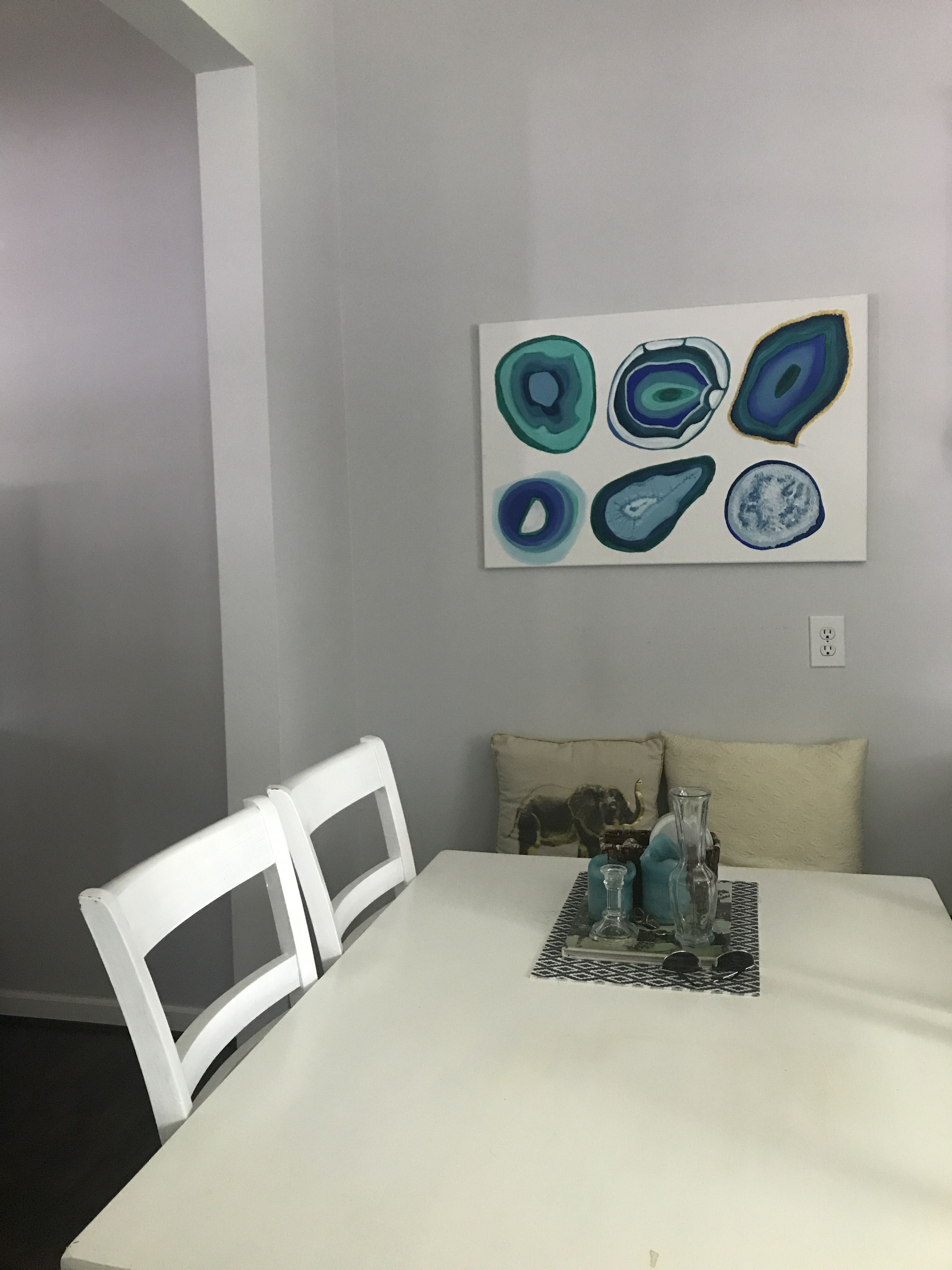 Geode Wall Art In Dining Nook (Painted By Katie Hawkins)