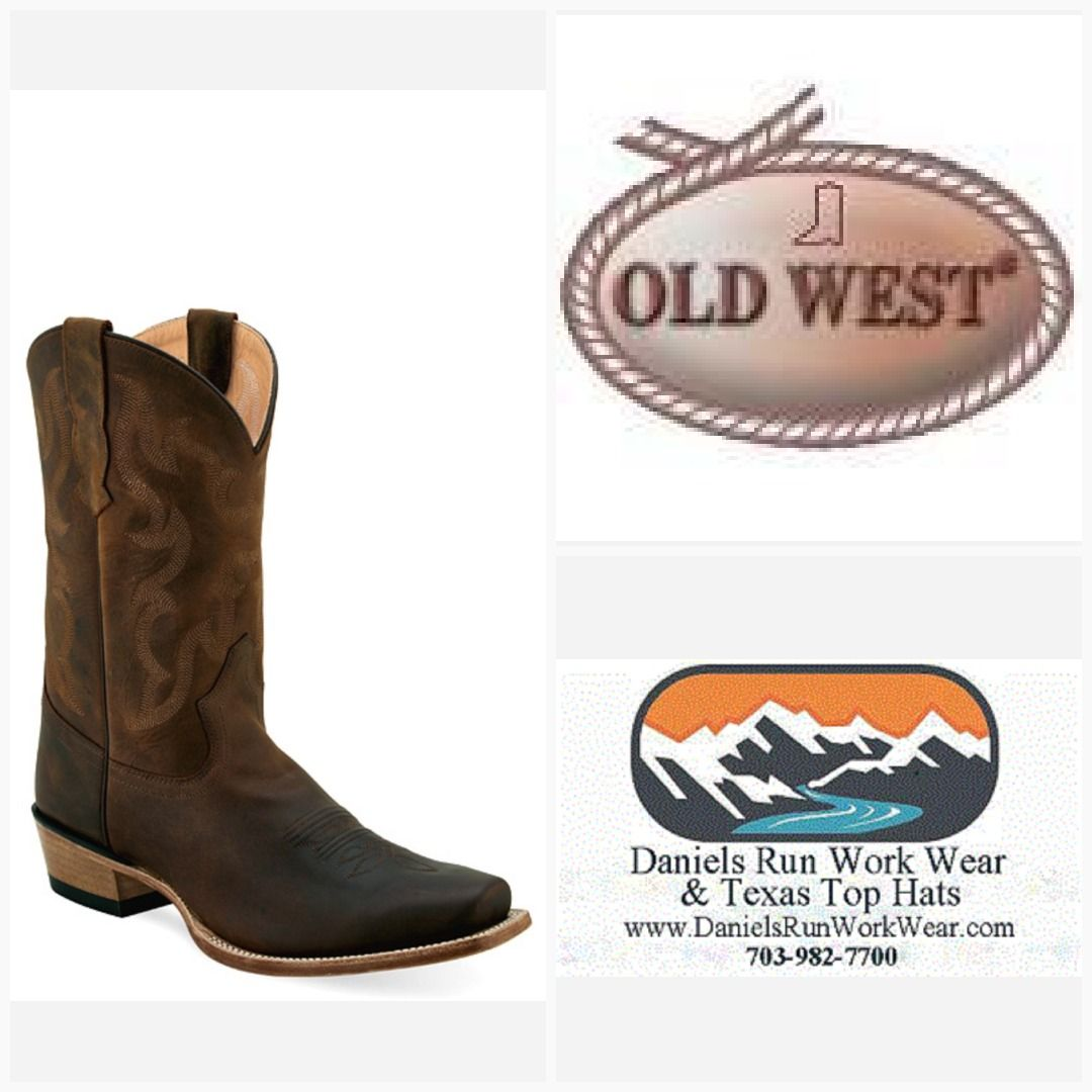 Old West Men S Brown 11 Full Leather Lined Fancy Stitch Hand Corded Medallion 5553 Old West Boots Boots Side Zip Boots