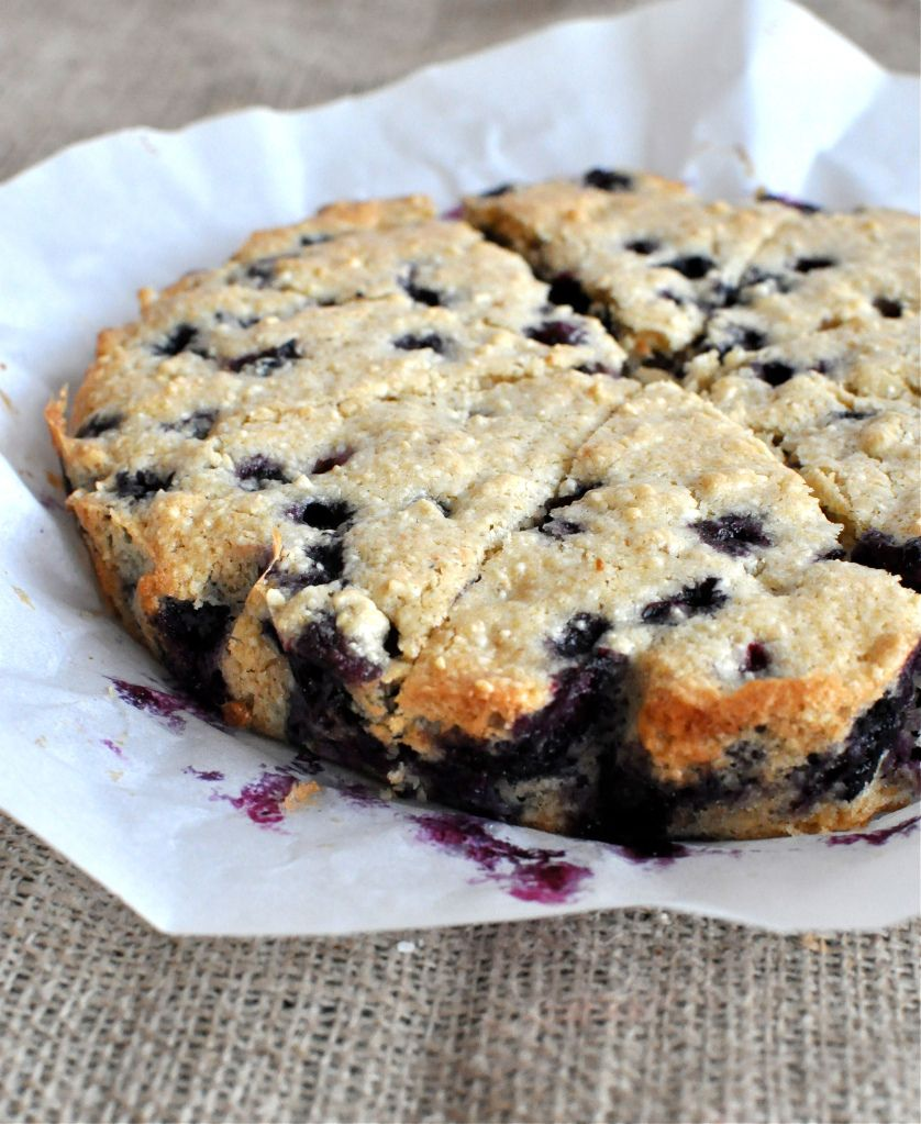 from: www.fedandfit.com      paleo blueberry scone recipe:  1 ½ cups Cashews  ¼ cup Arrowroot  Pinch of Salt  1 tsp Baking Powder  1 cup Fresh Blueberries  ¼ cup Extra Virgin Coconut Oil  3 Tbl Maple Syrup  2 tsp Vanilla Extract  1 Egg