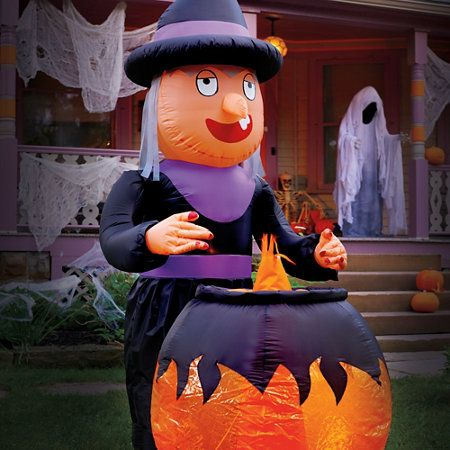 8\u0027 Inflatable Witch with Cauldron Halloween Decoration hallowen - outdoor inflatable halloween decorations