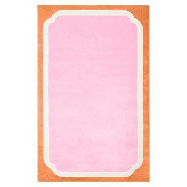 Color Pop Border Rug, 8 X 10, Pink/Orange