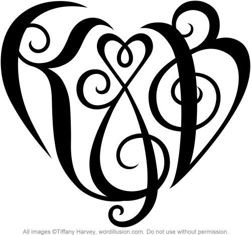 K B Heart Design Monogram Tattoo Tattoo Lettering Initial Tattoo