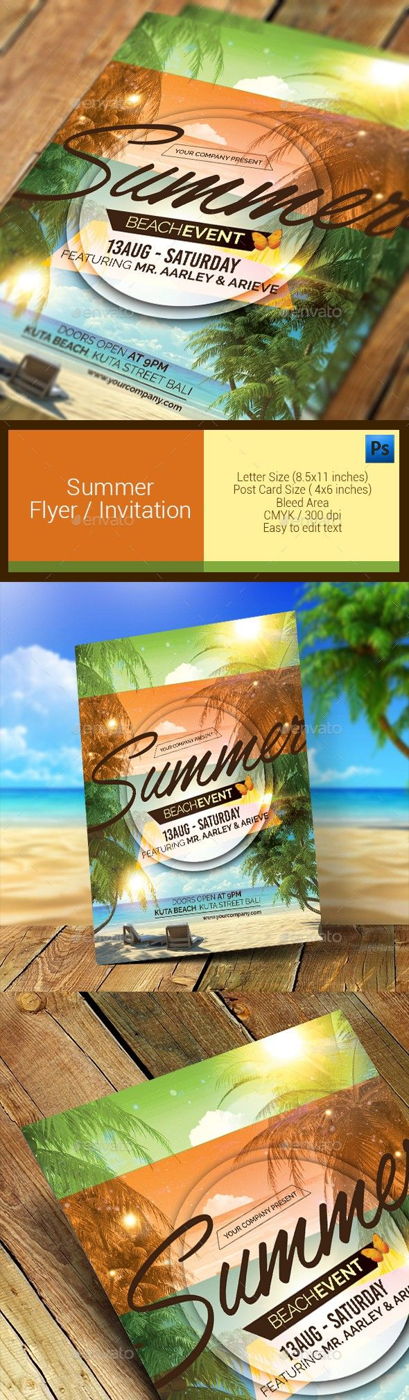 beach, flyer, flyer template, holiday, invitation, pool