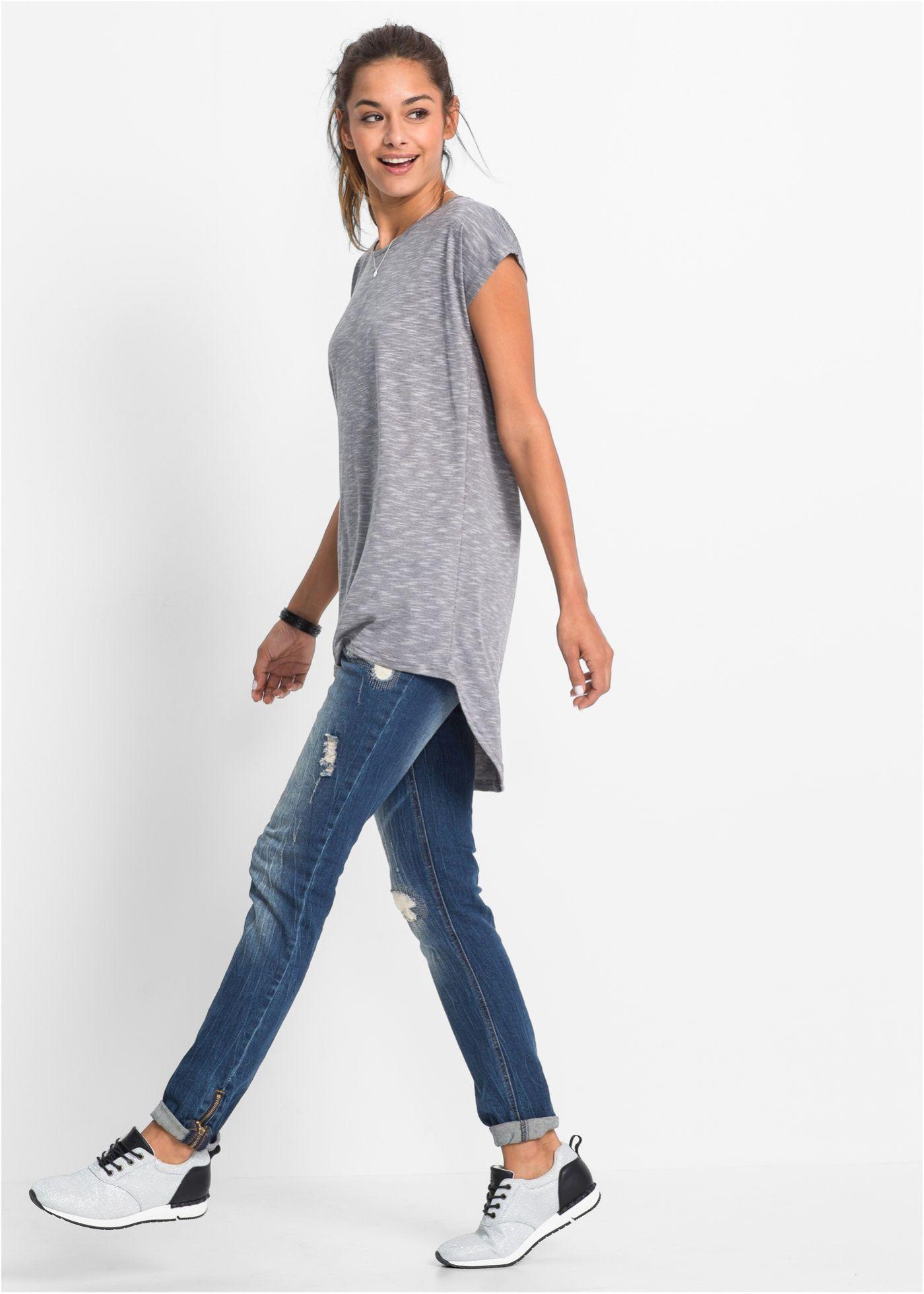 Dlouhé triko šedá vícebarevná - koupit online - bonprix.cz Módní melanžový  vzhlad se zakulaceným ff13271ee7e