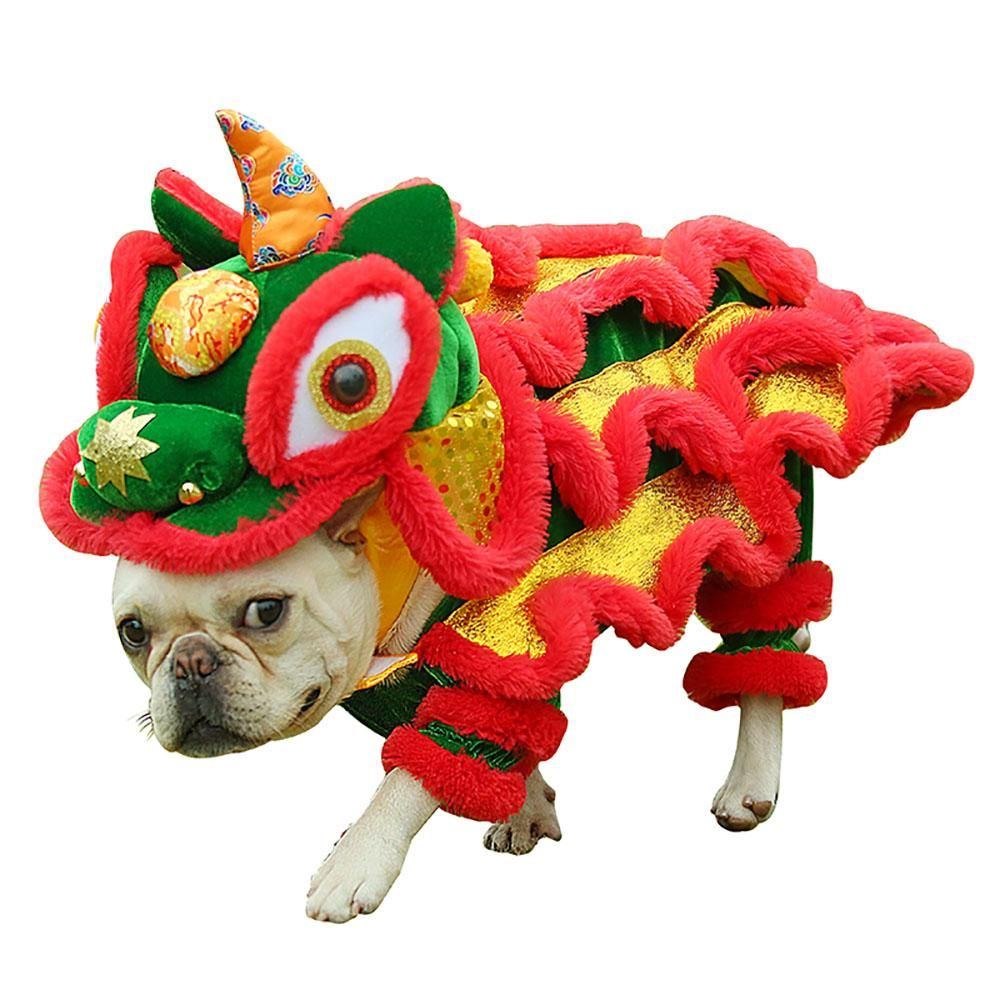 Funny Pet Cat Dog Costume Clothes Chinese Lion Dance Suit For