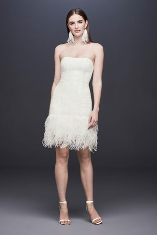 Strapless Lace Wedding Dress With Ostrich Feathers Style Ds870043