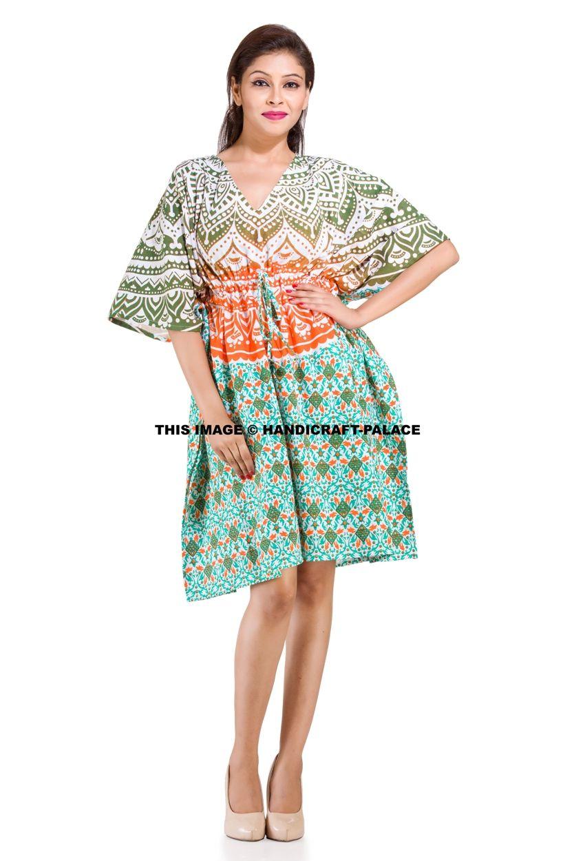 Block print Kaftan,knee length 100 /% cotton kaftan,bikini cover up,Night Short Maxi Gown,Cotton Beach wear,Handmade Top Tunic Boho kaftan
