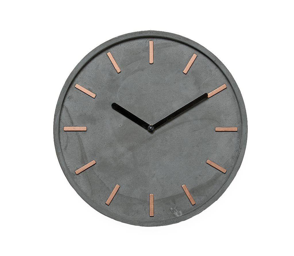 Uhr Modern amazon de hochwertige beton uhr wanduhr in grau kupfer 28cm rund