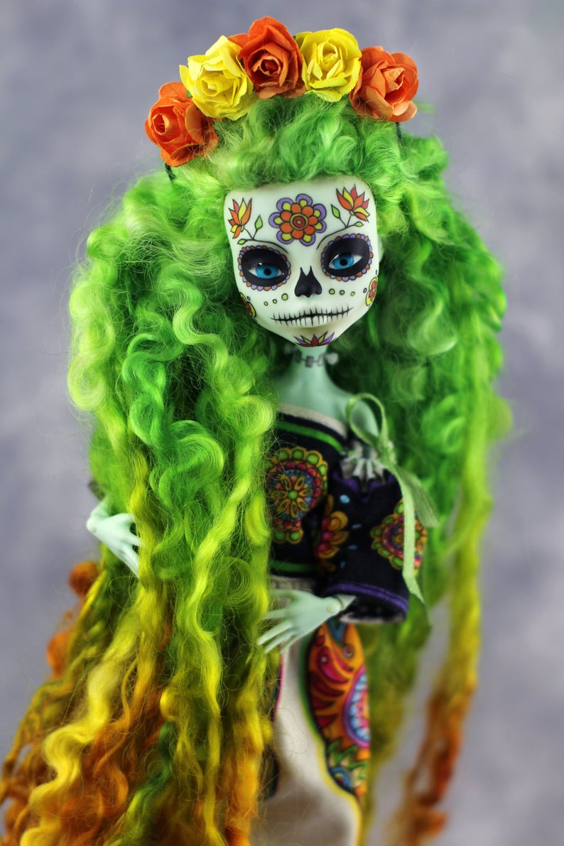 Monster High repaint doll | Santa Muerte art doll | OOAK | Collectible doll | Halloween gift #dollcare