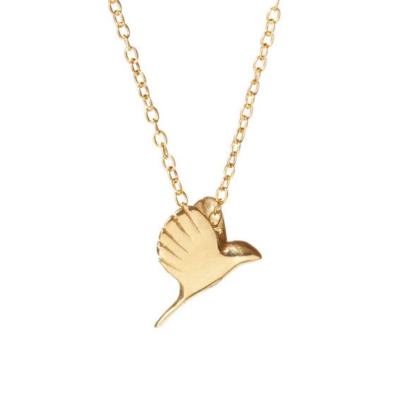 Gold bird necklace by Chupi on Etsy listing at https://www.etsy.com/listing/111572240/i-am-a-free-bird-necklace-in-18k-gold