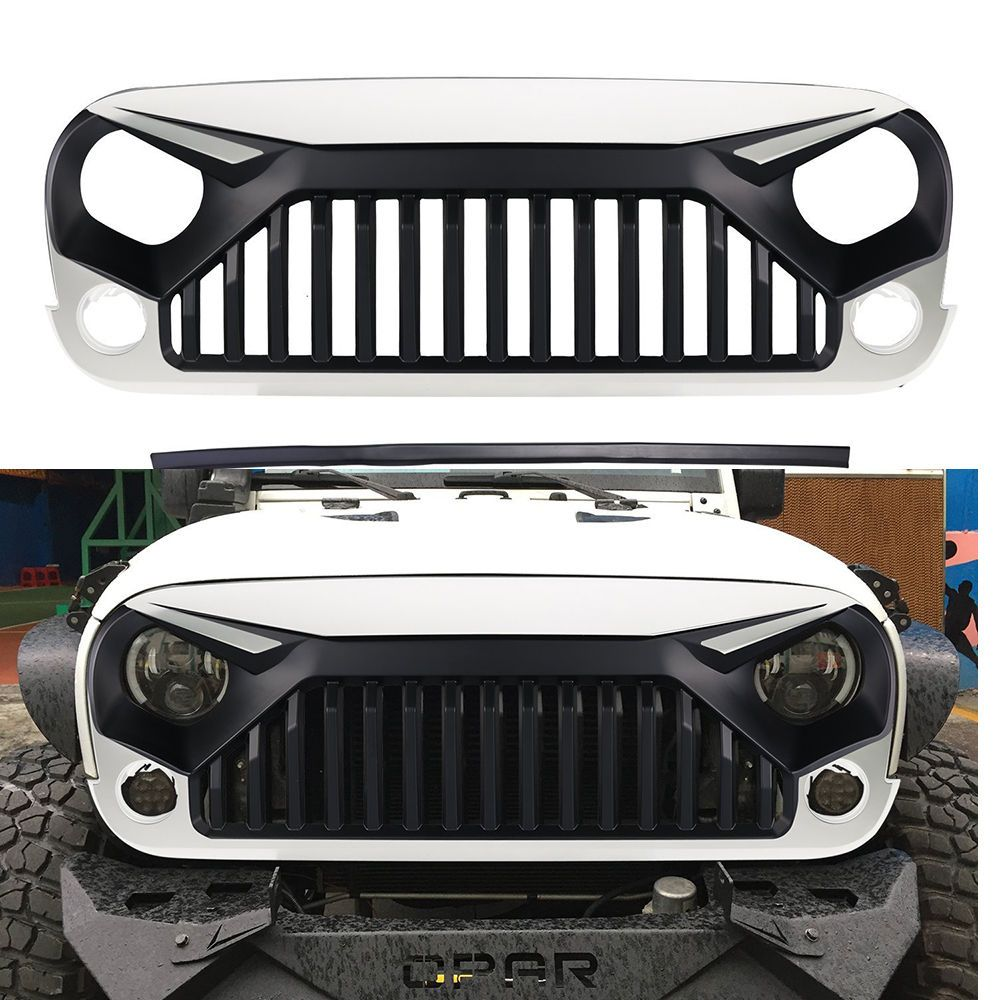 Front Angry Bird W7 White Grille Hood For Jeep Wrangler Jk Rubicon Sahara 11 15 Jeep Rubicon Accessories Jeep Wrangler Accessories Wrangler Accessories