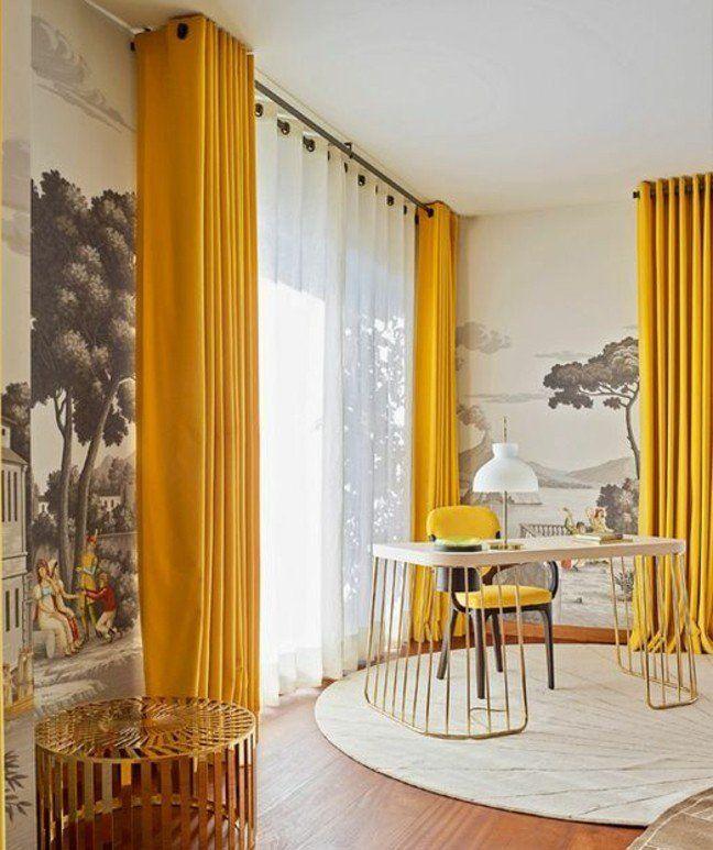 La couleur jaune moutarde nouvelle tendance dans l 39 int rieur maison salons - Papier peint jaune moutarde ...