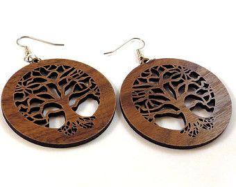 Tree Of Life Sustainable Wooden Earrings In Walnut Wood Dangle