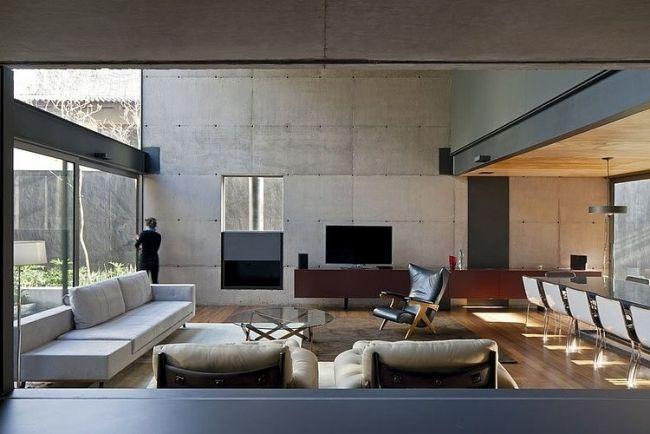 wohnzimmer ideen sichtbeton holzbodenbelag offen essbereich - Essbereich Im Wohnzimmer