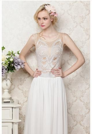 Vintage Sleeveless Lace Embroidery Long Dress  from mixmoss