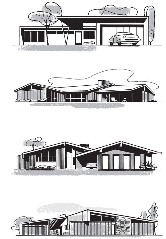 Mad For Mid Century Home Illustrationsmid Modern Architecture