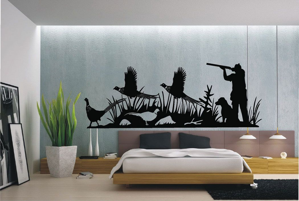 Get Fresh Look By Adding Cool Wall Stickers: Black Cool Wall Stickers  #coolwalldecals #hunterdogbirds #bedPottedplant