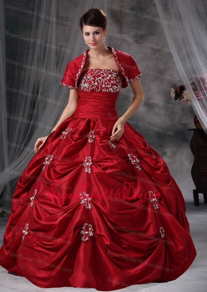 Wine Red Ball Gown Strapless Floor-length Taffeta Appliques Sweet ...