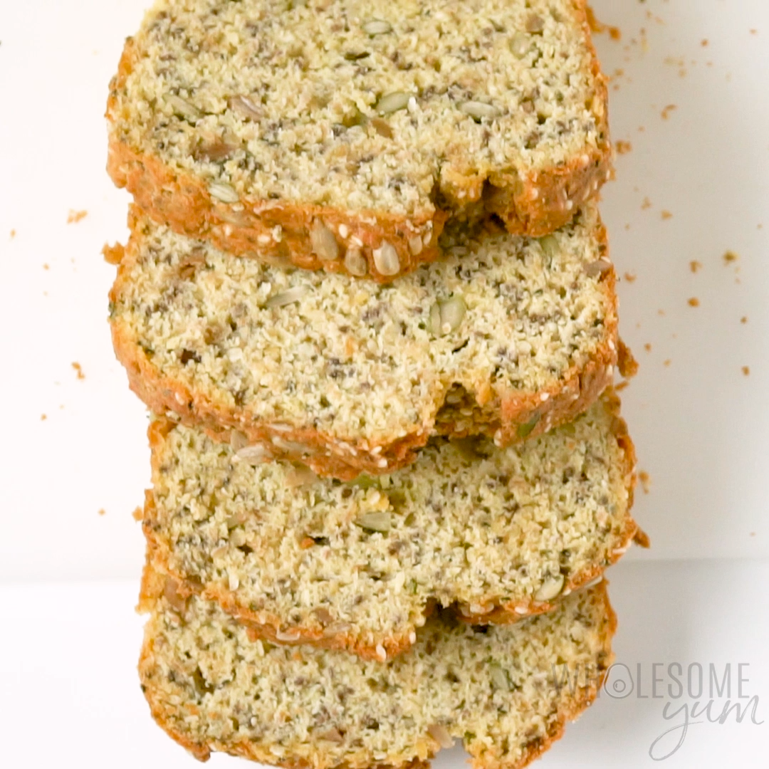 Keto Low Carb Coconut Flour Bread Recipe - A low carb coconut flour bread recipe packed with seeds, for a delicious multi-grain taste without nuts or grains! Keto paleo bread made with coconut flour is perfect for sandwiches. #wholesomeyum #lowcarb #keto #paleo #whole30 #healthybread #healthyrecipe #easyrecipe