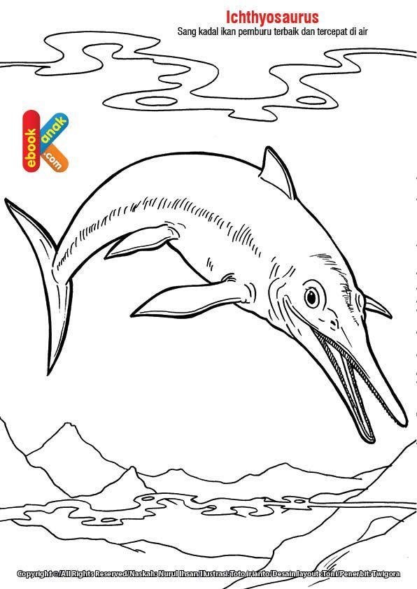 Mewarnai Gambar Ichthyosaurus Dengan Gambar Warna