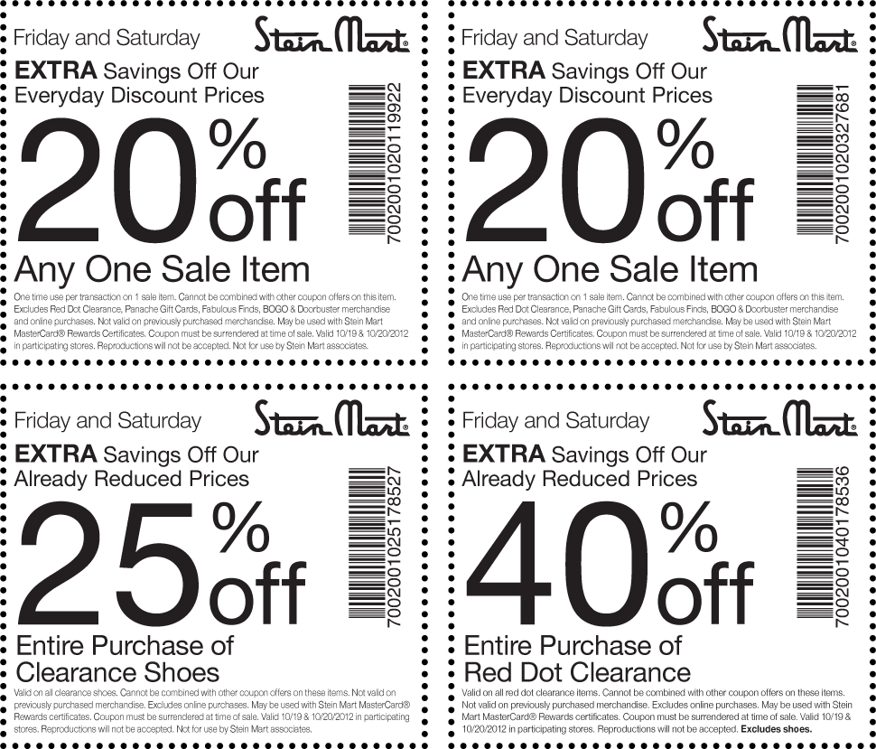 Hobby lobby coupon 40 off entire purchase - Stein Mart Coupons Extra Savings Off Our Already Reduced Prices 20 Off Any Sale Item 40 Off Entire Purchase Pinterest