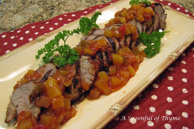A Spoonful of Thyme: Mexican Pork Tenderloin with Smoky, Spicy Peach Salsa